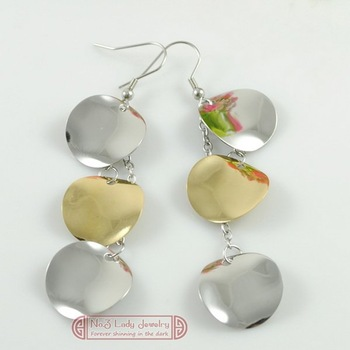 Free Shipping, Womens Three Leaves Stainless Steel Drop Earrings Fashion 2013 Jewelry , Christmas Gift, Wholesale,WE240