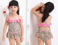 Fashion girls swimwear Leopard print girls bikini swimsuit children/kids beach wear/swimsuit 5sets/Lot Free shipping