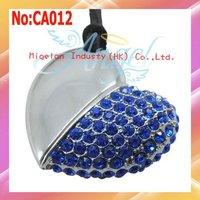 Free shipping Wholesale 1GB 2GB 4GB 8GB 16GB 32GB 64GB 100% true capacity Heart jewelry usb flash drive Blue #CA012