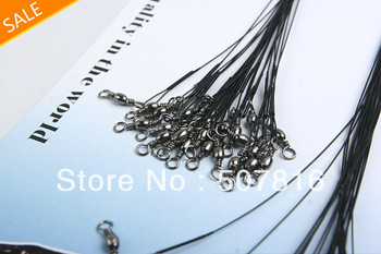 Free Shipping 72 pcs/set Fishing Lure Trace Wire Leader With Line Swivel Tackle Spinner Shark Spinning expert 15cm/20cm/25cm