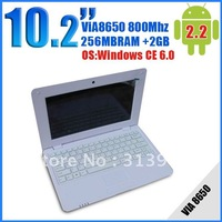 Wholesale 5pcs/lot 10 inch laptop VIA8650 800MHZ 256MB Windows CE Notebook Netbook MINI laptop