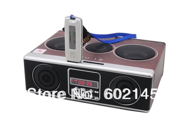 2015 New Portable Speakers Mini Sound Box MP3 player Mobile Speaker Boombox With FM Radio SD Card reader USB SU12 - Sample Black
