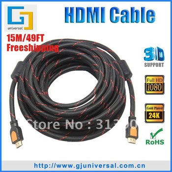 Free shipping wholesale15M 49ft 1080P V1.4  support 3D 19M-19M HDMI CABLE FOR LCD HDTV DVD PS3