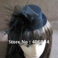 NEW black races/weddings/party veil feather mini hat Fascinator