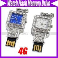 watch usb flash drive 4GB novelty deisgn jewellery crystal usb flash drive flash memory stick pen drive #3075
