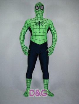Best Selling Wholesale Green&Black Lycra Spandex Spiderman Zentai ...