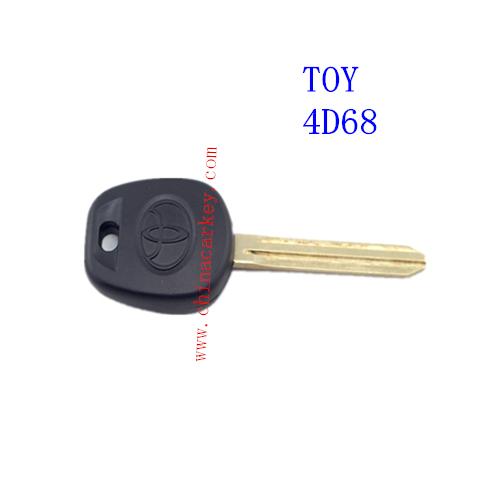 Free shipping 40pcs/lot new uncut toyota key with chip 4D68(China (Mainland))