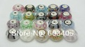 12pcs/lot Real Pure Solid 925 sterling silver lampwork glass bead fit European charm bracelet