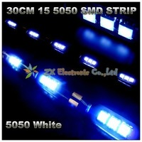 12V Best offer 30cm 15 5050 SMD LED Strip White Color + waterproof + Free shipping + wholesale + 10pcs/lot Car Home strip light