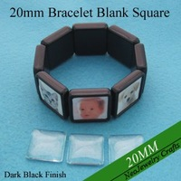 20MM Black Square Stretch Bracelet Bezel Blank Setting + Glass, Acrylic Bazel Blank Bracelet For Custom Photo Jewelry Making