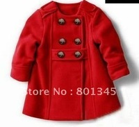 20% off,Free shipping autumn winter New children wear,double button design children coat,children wool coat.thickening,red brown