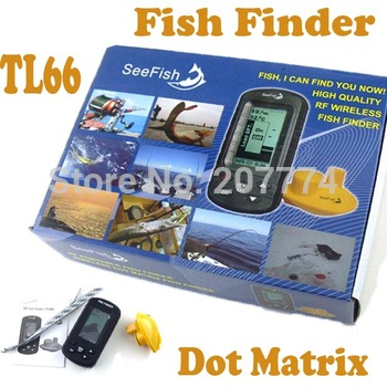 Wireless Portable TL66 LCD 3 inch display Dot Matrix Sonar Radio River Lake Sea Bed 40M Fishfinder Fish Finder With Retail Box