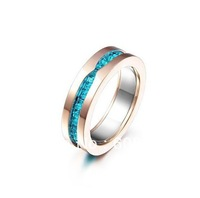 Italian Most Celebrated Designer 1-Band Ring,In 18K Rose Gold Plated Metal With Brilliant Blue Stones,Elegant Ring For Your Wife