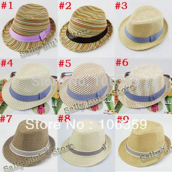 High Quality Children Hat Fedoras Baby Summer Sun Cap Kids Fedora Hat Boys Girls Straw Jazz Cap 10pcs FH009