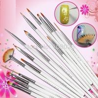 High quality 2014New! 16pcs /set White Nail Brush Paint Design Pen Tools for False Nail Pen