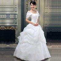 Freeshipping 2013 New Arrival Organza Shoulder Bandage Princess Bridal Dress,Bridal Gown, Wedding Dress
