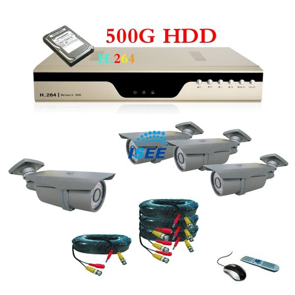 Free Shipping 4CH Full D1 Realtime H.264 Network DVR Outdoor IR Cameras Security System(China (Mainland))