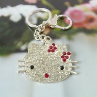 Full Rhinestone Hello Kitty Alloy Key Chain With Excellent Quality,Free Shipping Wholesale&Retail ,YY101017