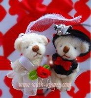 Free shipping, 100pair/lot, 6.5cm Tinny teddy wedding bear in pairs, good as wedding gifts