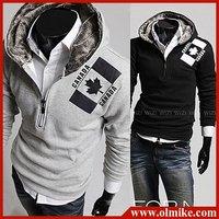 Promotional Men's designer fashion Maple Leaf printed thick fleece hoody coat sweater hoodies men (Black Gray ,M L XL XXL) C035