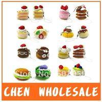 16pcs/Lot Wholesale Fruit Cake Plush cellphone Charm,Cake Charm, Mobile Phone Strap