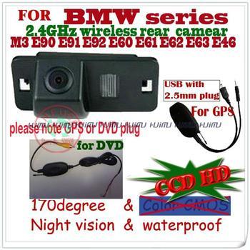 2.4G wire wireless CCD HD car rear view camera paking monitor for BMW E46 330d 323ci 320cd M3 E90 E91 E92 E60 E61 E62 E63