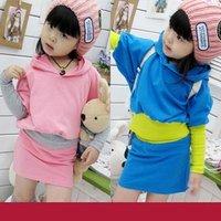 5pcs/lot Spring HOT kid dress solid bat sleeve baby girls dress suit