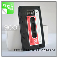 DIRECTOR Free shipping 1pcs/lot Black Color Cassette Tape Silicone Case Cover for Samsung Galaxy S2 i9100