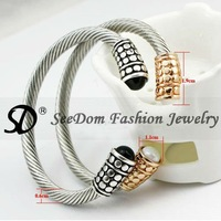 Free Shipping Tibetan Silver Twist Bangle (6 Pcs /Lot Two Color) Fashion Jewelry