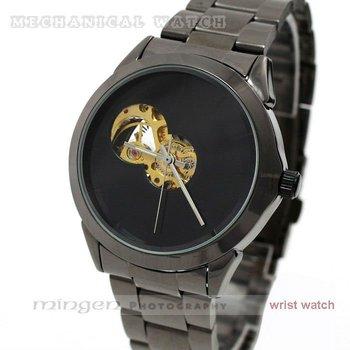 MINGEN SHOP - Black Fashion steel Strap Automatic mechanical men watch J053-1 watch wholesale