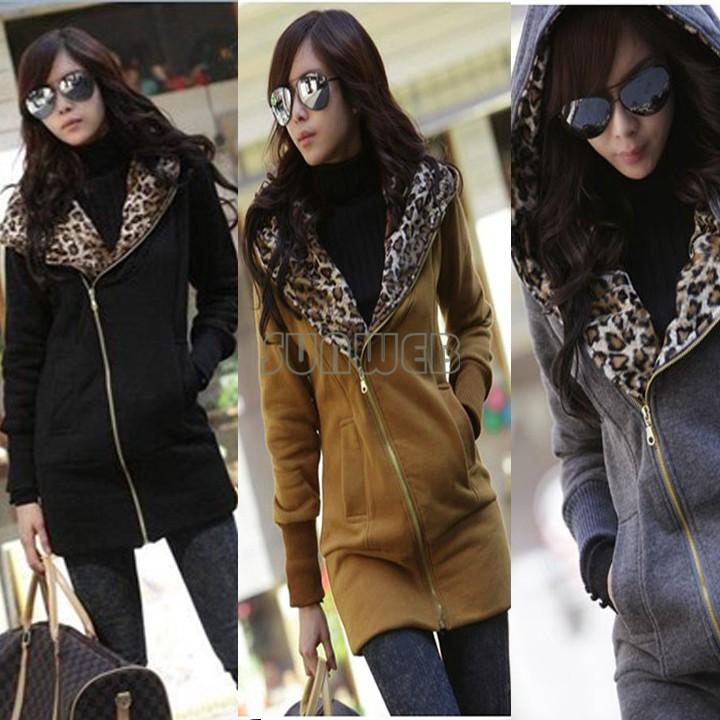 Corea in pile leopardo delle donne cappotto con cappuccio felpa giacca abbigliamento caldo s, m, l 3270
