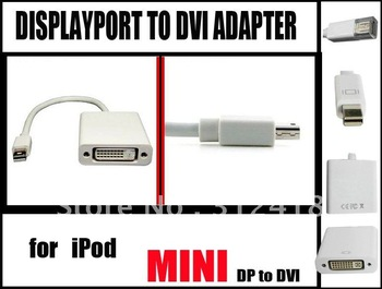 mini Displayport to DVI Adapter 15CM white (DP Male to DVI Female),Support DVI highest video resolution 1080p freeshipping