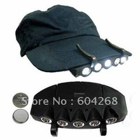 Free Shiping New 5 LED Outdoor Fishing Camping Hunting Cap Hat Clip On Lamp Light 2 Batteries wholesale 15pcs/lot