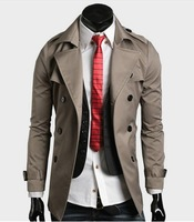 free shipping 2012  men's trench coat big collar double breasted belt designer short slim  men jacket black/khaki m-xxl f02