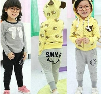 Hu sunshine wholesale boys girls smile gray black pants H1045