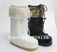 Drop shipping Patent leather women Brand Warm winter Fur Ankle snow Mid-Calf black white Space moon Boots size 35-40