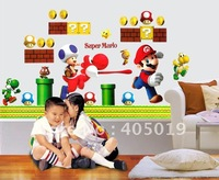 "Cute 53x93cm (21""x37"") SPC071 Super Mario Cartoon Kids Sticker Murals Wall Wallpaper Mixable Cling Free Shipping Resell Packing"