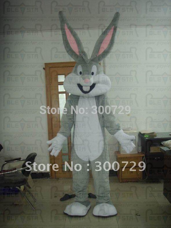 top quality bugs bunny mascot costume, bunny costume,gray rabbit mascot costumes(China (Mainland))