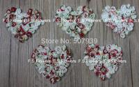 Free ePacket/CPAP print chiffon rosette heart,chiffon heart,hair accessories,garment accessories,10x9CM,200pcs/lot
