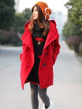Wholesale - NEW Free Shipping Women's dress Fashion jacket Hooded woolen coat Maternity 55073