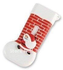 Free Shipping OEM 2GB Christmas Socks USB Disk Christmas Stocking USB Memory Noel USB Drive