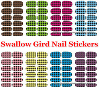 wholesale 2014 new 3D Swallow Gird Nail Stickers DIY decoration decal nail art beauty sticker wraps 100sheets/lot free shipping