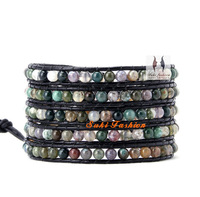 Top Fashion Beautiful India Agate Wrap Bracelet, Wholesale Beaded Wrap Bracelet, Free Shipping