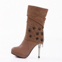 Free shipping 2011 new simulation round leather stiletto boots sheep pattern for women