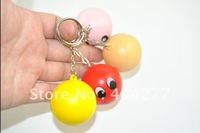 Free shipping,Smiley face plastic keychain,soft smiley face keychain,diameter:3.5cm,1.38inch,20pcs/lot