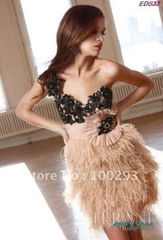EDS33 Free Shipping Classica Ladies Fashionable Beautiful One Shoulder Ostrich Feather Short Evening Eevening Dress