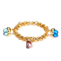 Fabulous Designer Colorful Gem Stones Charm Chain Bracelet,18K Gold Plated Metal With Blue,Pink and Green Color Stone,A Joy Gift