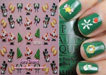 wholesale 100x Xmas nail sticker,  High quality Mix 3D Nail Art sticker, Free shipping
