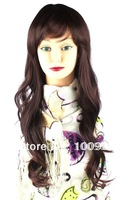 Wig!HW0024!Free Shipping!1PCS/Lot!Auburn 58CM Length Curly Bang Carney Carron Long Lady Synthetic Fashion Lace Hair Accessory