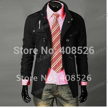 2012 Men Slim Designed Jacket Hot Stylish Woolen Jacket Double Pea Trench Coat black free shipping 3300